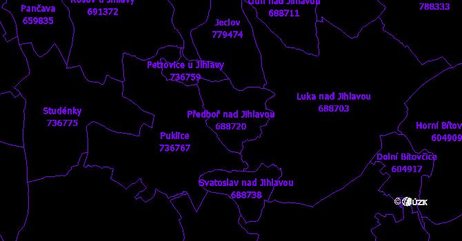 Katastrální mapa Předboř nad Jihlavou - přehledová mapa katastrálního území