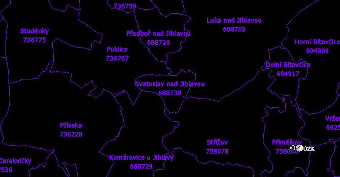 Katastrální mapa Svatoslav nad Jihlavou - přehledová mapa katastrálního území
