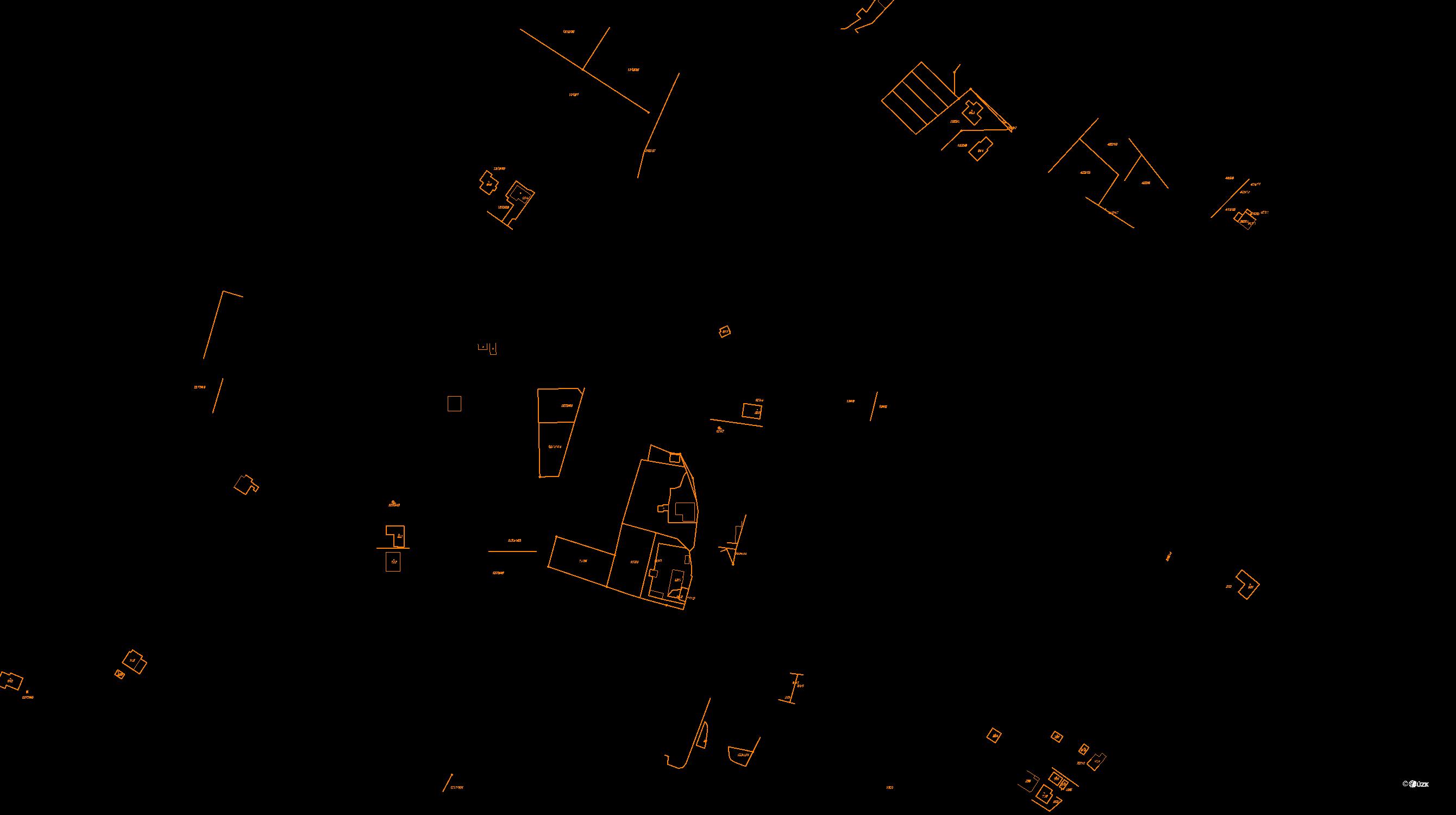Katastrální mapa pozemků a čísla parcel Lukov u Zlína