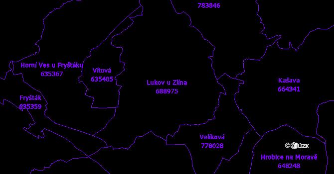Katastrální mapa Lukov u Zlína - přehledová mapa katastrálního území