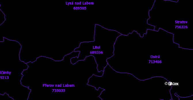 Katastrální mapa Litol - přehledová mapa katastrálního území