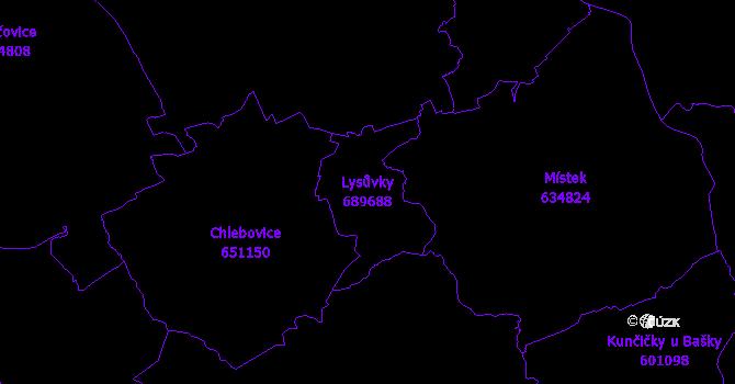 Katastrální mapa Lysůvky - přehledová mapa katastrálního území