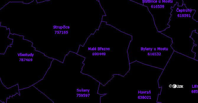 Katastrální mapa Malé Březno
