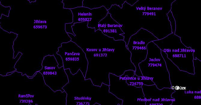 Katastrální mapa Kosov u Jihlavy - přehledová mapa katastrálního území