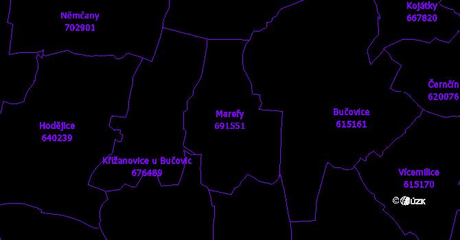 Katastrální mapa Marefy - přehledová mapa katastrálního území