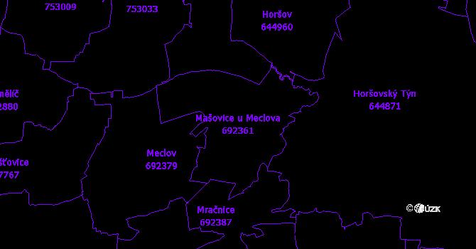 Katastrální mapa Mašovice u Meclova - přehledová mapa katastrálního území