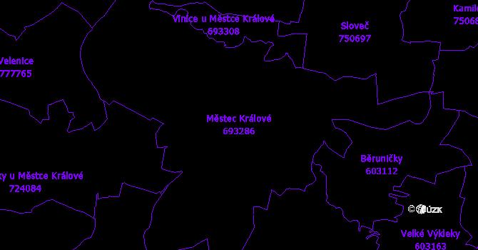 Katastrální mapa Městec Králové - přehledová mapa katastrálního území