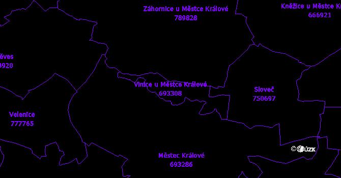 Katastrální mapa Vinice u Městce Králové - přehledová mapa katastrálního území