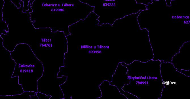 Katastrální mapa Měšice u Tábora - přehledová mapa katastrálního území