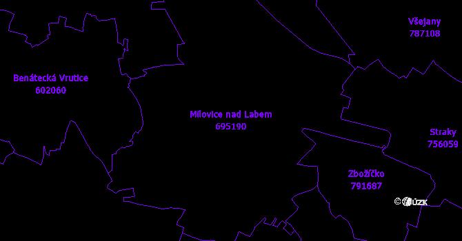 Katastrální mapa Milovice nad Labem - přehledová mapa katastrálního území