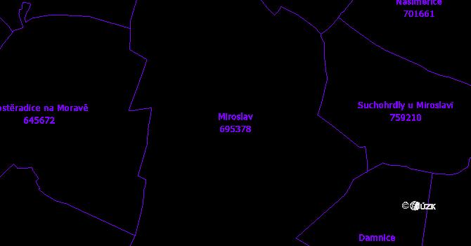 Katastrální mapa Miroslav - přehledová mapa katastrálního území