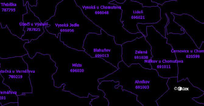 Katastrální mapa Blahuňov - přehledová mapa katastrálního území