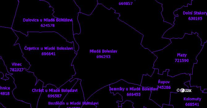 Katastrální mapa Mladá Boleslav - přehledová mapa katastrálního území