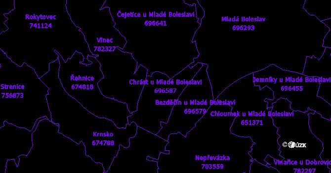 Katastrální mapa Chrást u Mladé Boleslavi - přehledová mapa katastrálního území