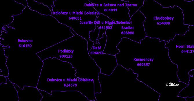 Katastrální mapa Debř - přehledová mapa katastrálního území