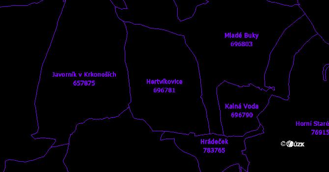 Katastrální mapa Hertvíkovice - přehledová mapa katastrálního území