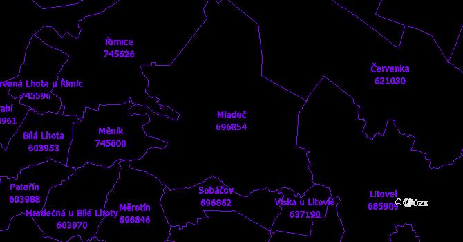Katastrální mapa Mladeč - přehledová mapa katastrálního území