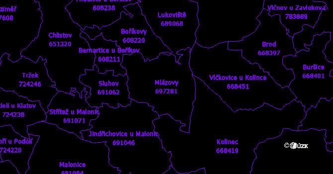 Katastrální mapa Mlázovy - přehledová mapa katastrálního území