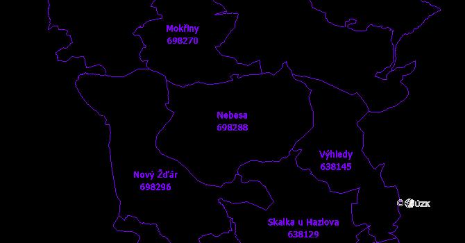 Katastrální mapa Nebesa - přehledová mapa katastrálního území
