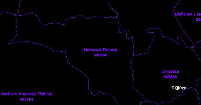 Katastrální mapa Moravská Třebová - přehledová mapa katastrálního území