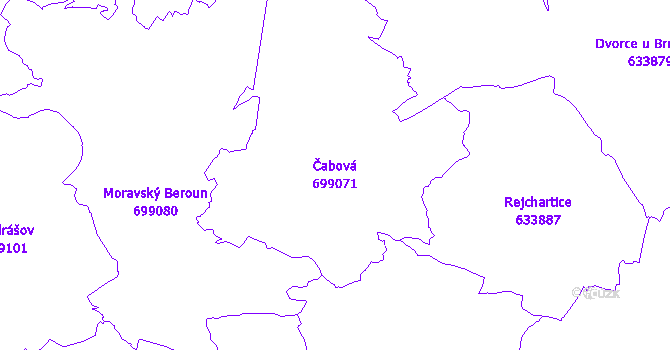 Katastrální mapa Čabová - přehledová mapa katastrálního území