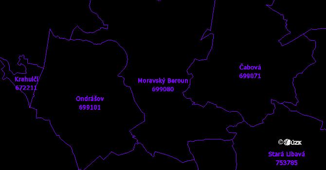 Katastrální mapa Moravský Beroun - přehledová mapa katastrálního území
