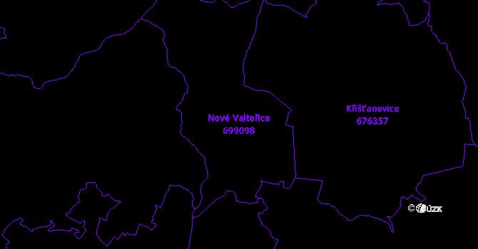 Katastrální mapa Nové Valteřice - přehledová mapa katastrálního území