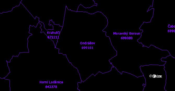 Katastrální mapa Ondrášov - přehledová mapa katastrálního území