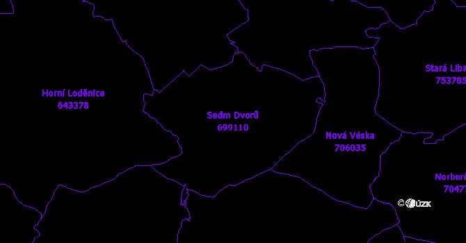 Katastrální mapa Sedm Dvorů - přehledová mapa katastrálního území