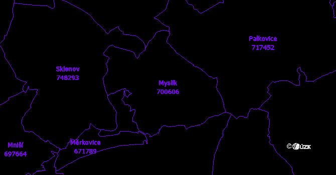 Katastrální mapa Myslík - přehledová mapa katastrálního území