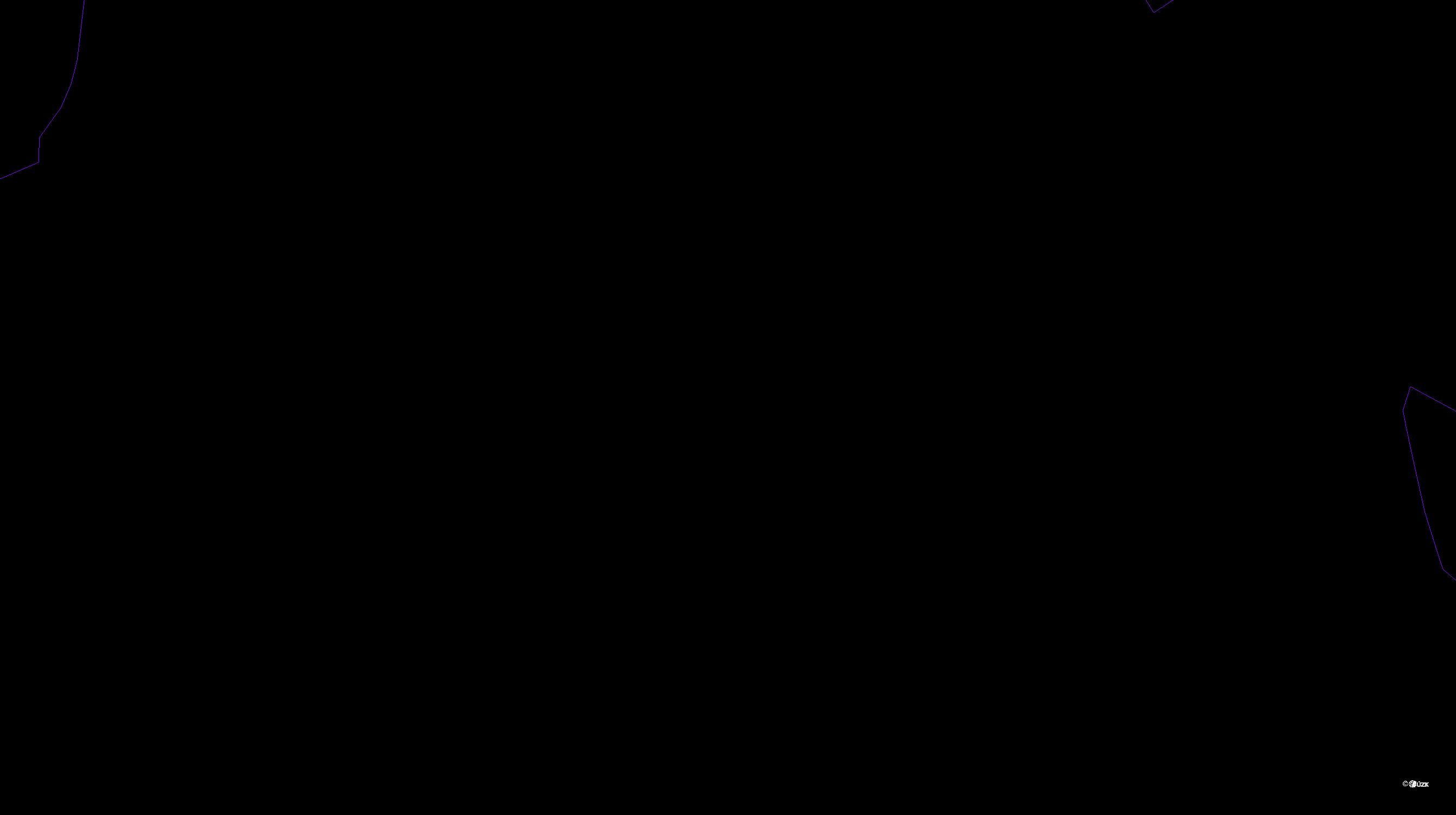 Katastrální mapa pozemků a čísla parcel Domažličky