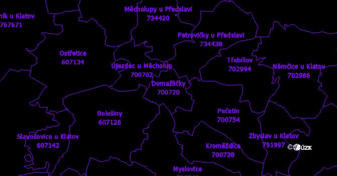Katastrální mapa Domažličky - přehledová mapa katastrálního území