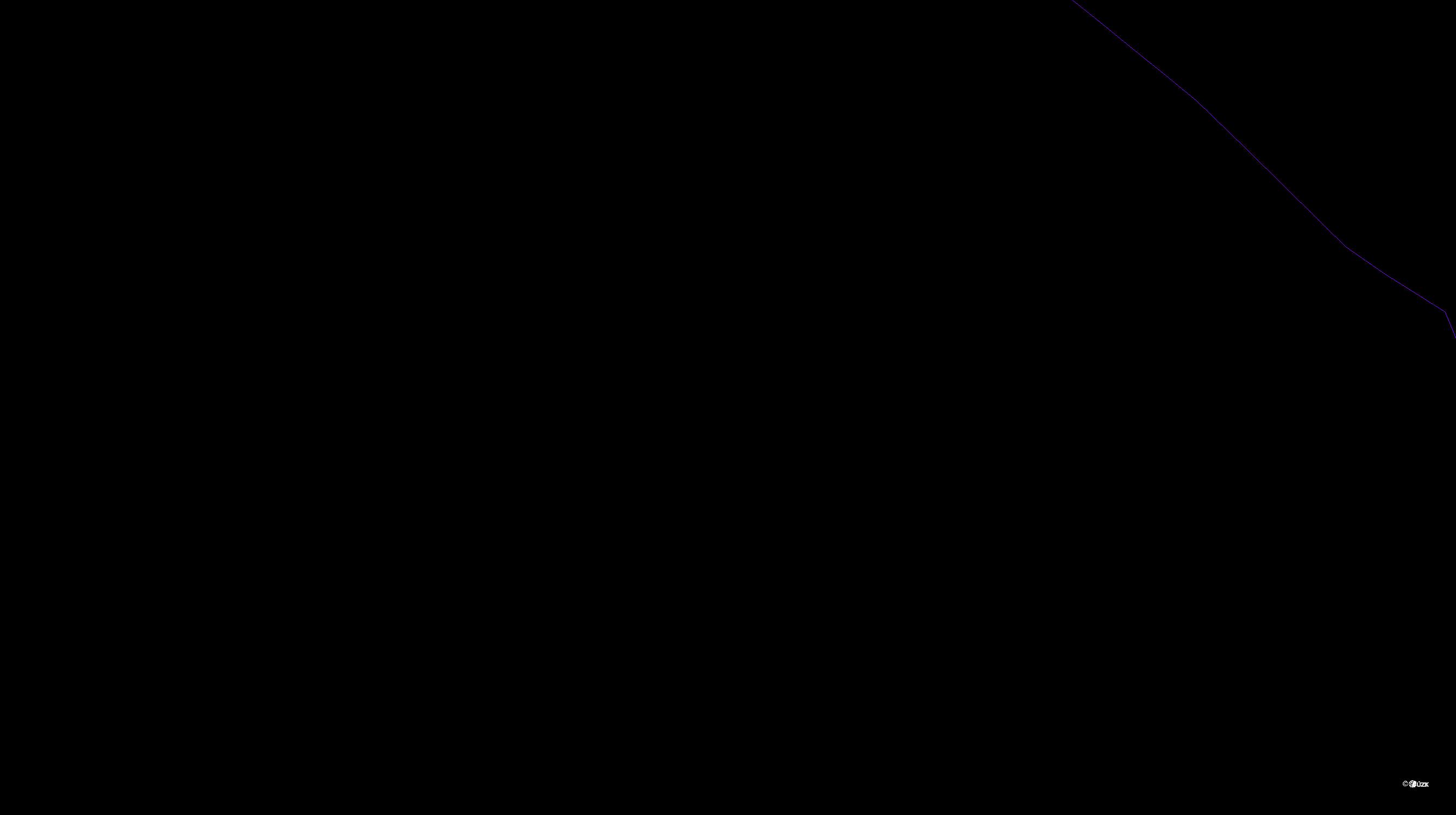 Katastrální mapa pozemků a čísla parcel Kroměždice