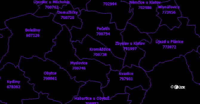 Katastrální mapa Kroměždice - přehledová mapa katastrálního území