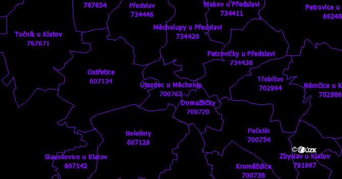 Katastrální mapa Újezdec u Měcholup - přehledová mapa katastrálního území