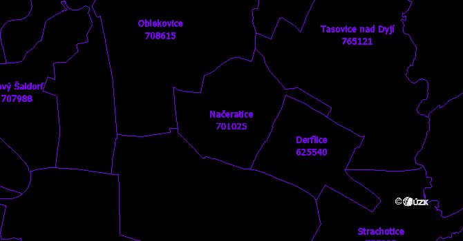 Katastrální mapa Načeratice - přehledová mapa katastrálního území