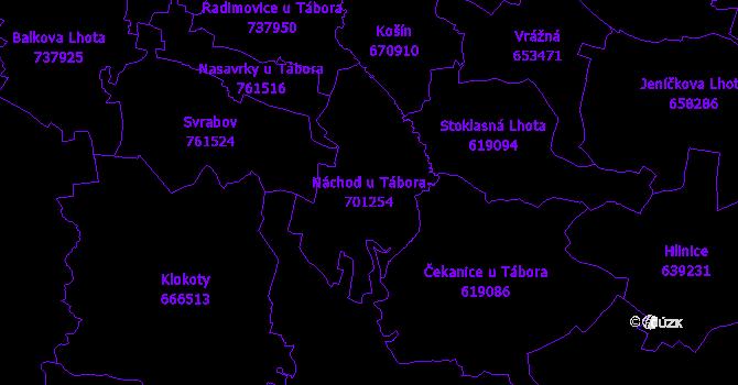 Katastrální mapa Náchod u Tábora - přehledová mapa katastrálního území