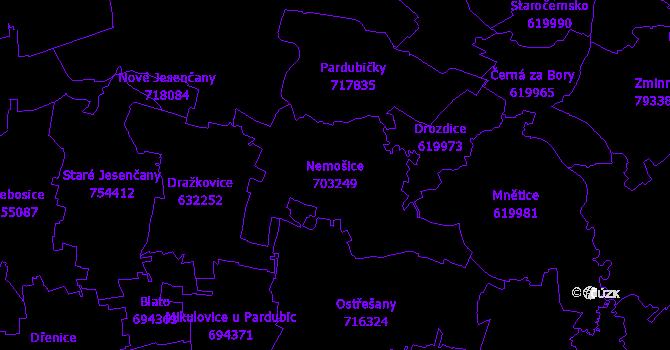 Katastrální mapa Nemošice - přehledová mapa katastrálního území