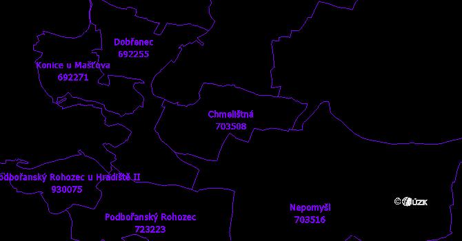 Katastrální mapa Chmelištná - přehledová mapa katastrálního území