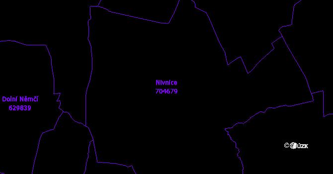Katastrální mapa Nivnice - přehledová mapa katastrálního území
