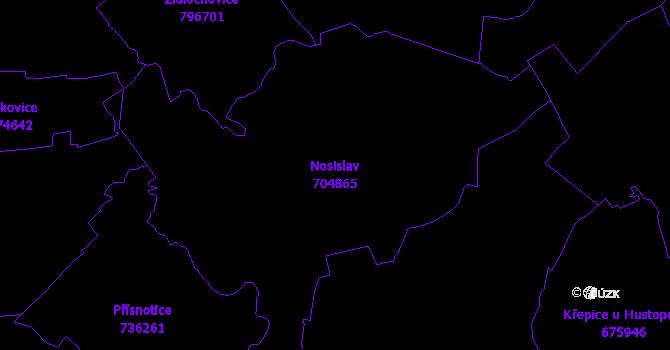 Katastrální mapa Nosislav - přehledová mapa katastrálního území