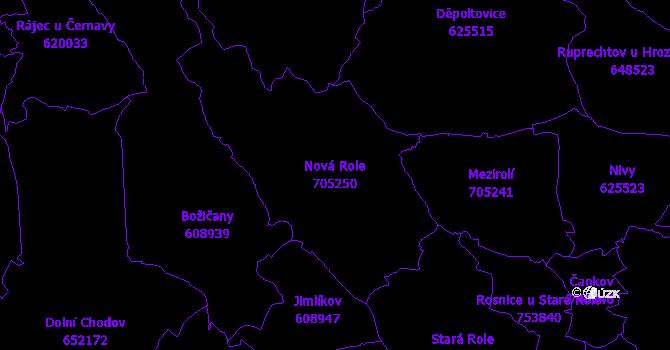 Katastrální mapa Nová Role - přehledová mapa katastrálního území
