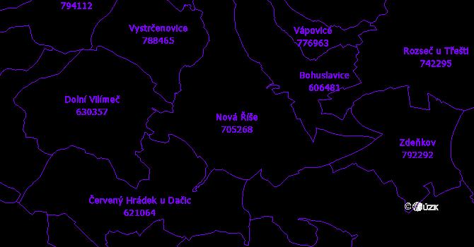 Katastrální mapa Nová Říše - přehledová mapa katastrálního území