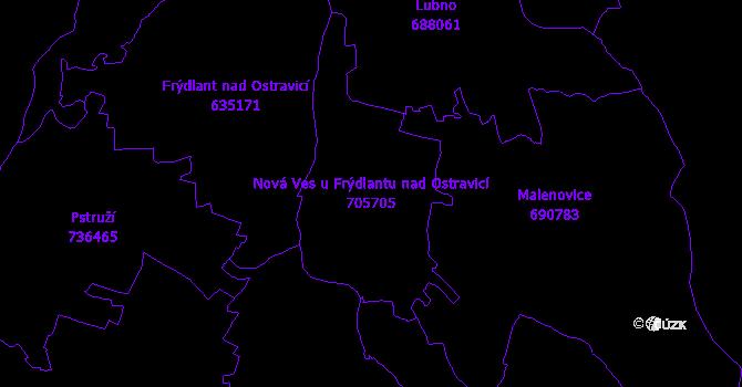 Katastrální mapa Nová Ves u Frýdlantu nad Ostravicí - přehledová mapa katastrálního území
