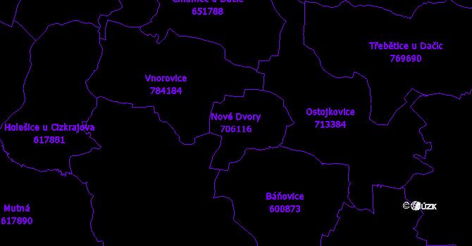 Katastrální mapa Nové Dvory - přehledová mapa katastrálního území