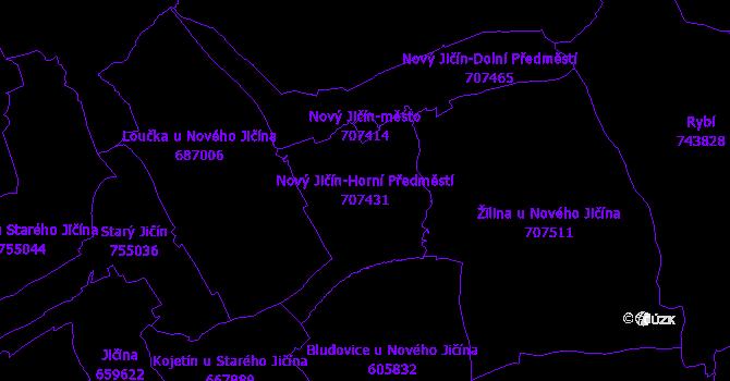 Katastrální mapa Nový Jičín-Horní Předměstí - přehledová mapa katastrálního území