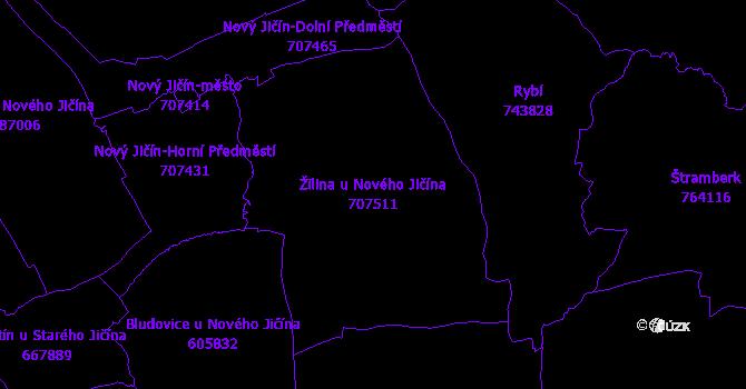 Katastrální mapa Žilina u Nového Jičína - přehledová mapa katastrálního území
