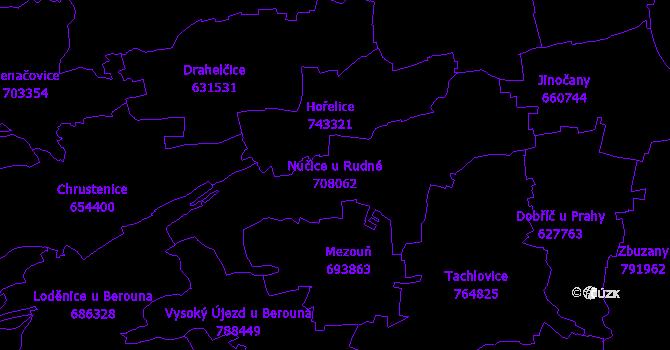 Katastrální mapa Nučice u Rudné