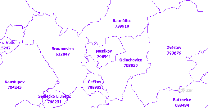 Katastrální mapa Nosákov - přehledová mapa katastrálního území