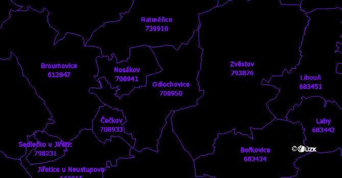 Katastrální mapa Odlochovice - přehledová mapa katastrálního území